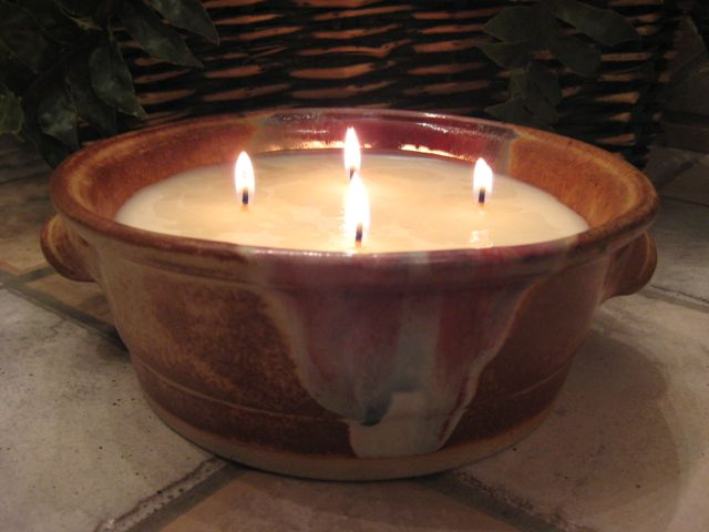 22 oz Soy Candle in handcrafted pottery