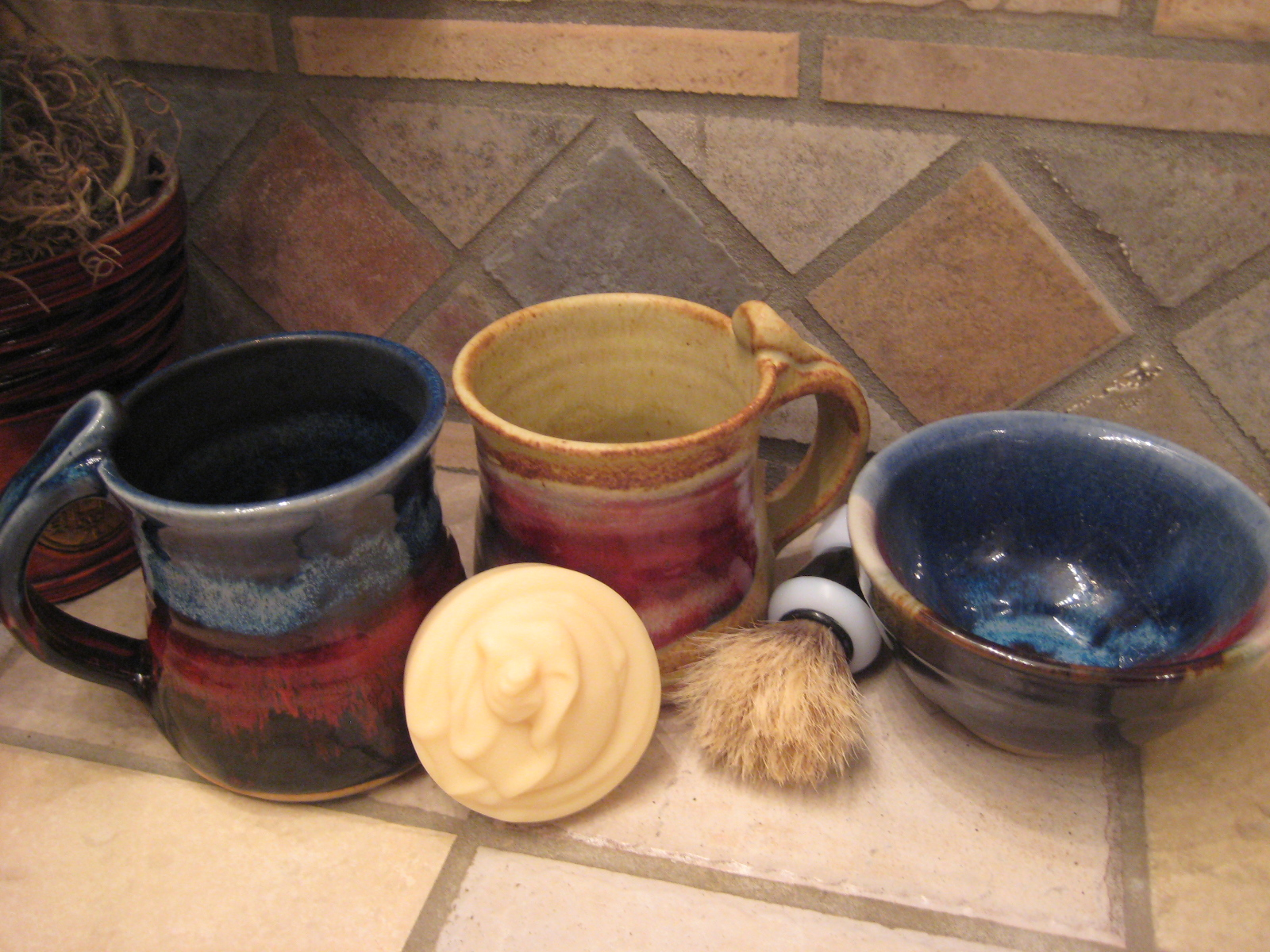 Shaving bowl or mug, shaving soap and brush set